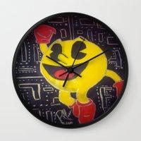 pacman Wall Clocks featuring pacman by RaieshaM