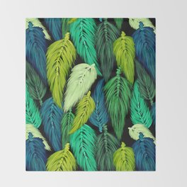 Watercolor Macrame Feather Toss in Black + Green Throw Blanket