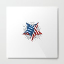 Star America Usa Flag Abstract Grunge Eps Element Vector Metal Print