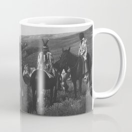 Native American Piegan Tribe, Two Medicine Men - Shaman - with Warrior hilltop above river black and white photograph Coffee Mug