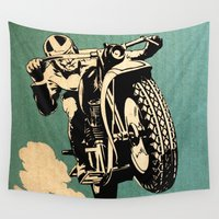 motorcycle Wall Tapestries featuring Motorcycle Race by Fernando Vieira