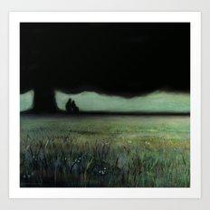 Lovers Tree (oil on canvas) Art Print
