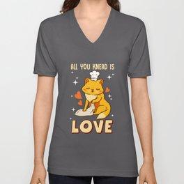 Cute & Funny All You Knead Is Love Cat Kneading Unisex V-Neck