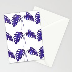 Indigo Monstera Leaf Watercolor - on white Stationery Cards