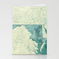 maryland Stationery Cards featuring Maryland State Map Blue Vintage by City Art Posters