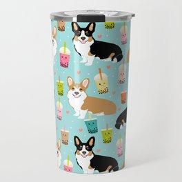 Corgi boba tea bubble tea kawaii food welsh corgis dog breed gifts Travel Mug