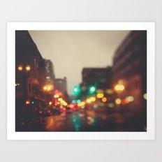 Portland In The Rain Art Print