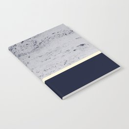 Navy Blue Pale Yellow on Navy Blue Concrete #1 #decor #art #society6 Notebook