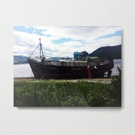 Shipwreck on the beach Metal Print