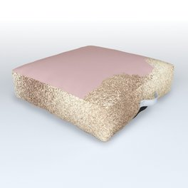 Rose Gold Glitter Black Pink Abstract Girly Art Outdoor Floor Cushion