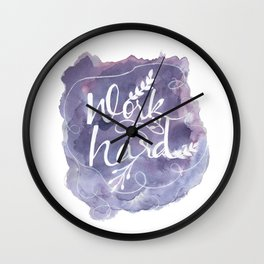 Work Hard Print, Purple Wall Art, Watercolor Typography Poster, Motivational Home Office Decor Wall Clock