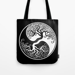 White and Black Tree of Life Yin Yang Tote Bag