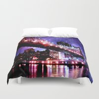 new york Duvet Covers featuring New York New York by Whimsy Romance & Fun