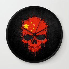 Flag of China on a Chaotic Splatter Skull Wall Clock