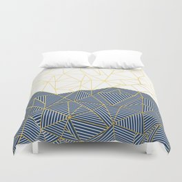 Ab Half and Half Navy Gold Duvet Cover