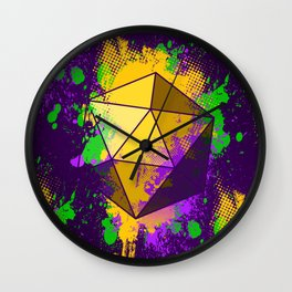 D20 Mardi Gras Splatter Wall Clock