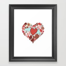 Wild red heart with love. Framed Art Print