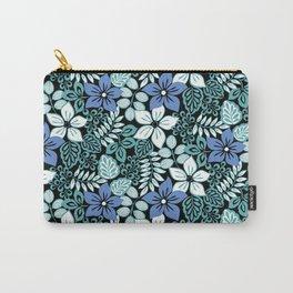 Tropical Floral Aqua Carry-All Pouch