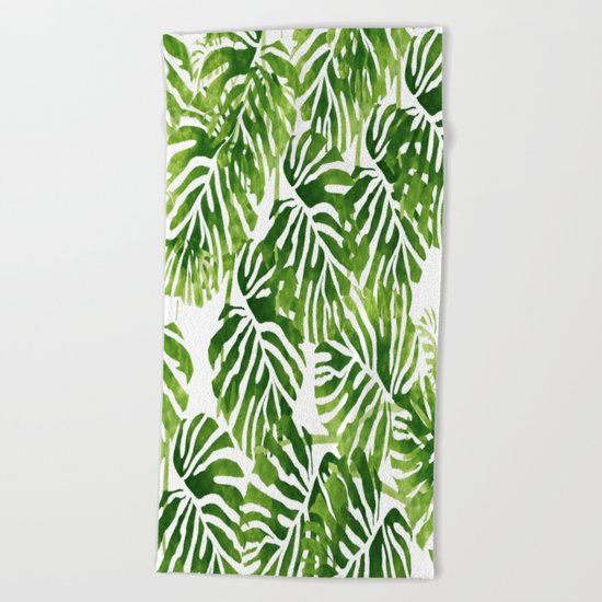 Tropical Leaves - Green Beach Towel