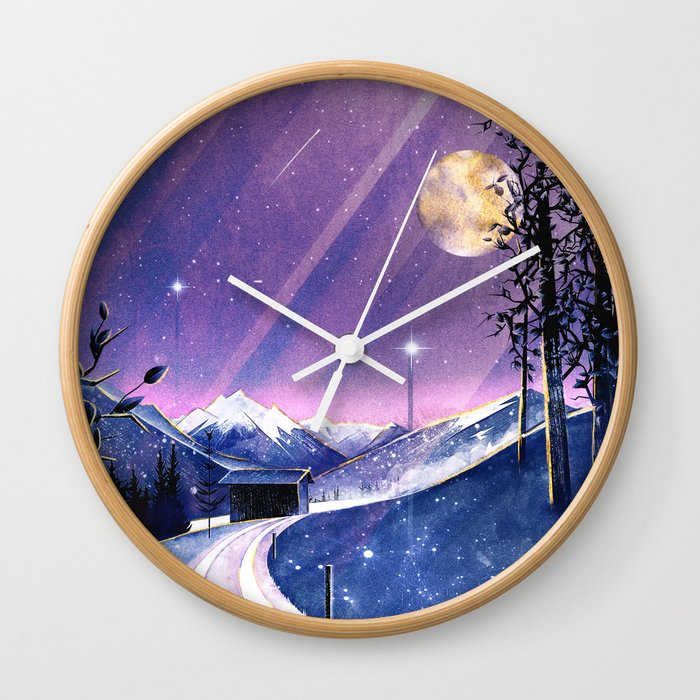 Mountains and Fields Watercolor Wall Clock
