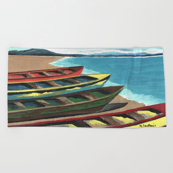 Boats In A Row Beach Towel