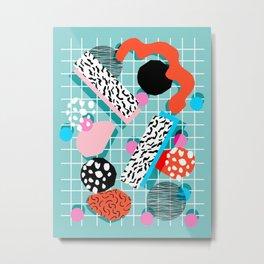 The 411 - wacka abstract memphis grid throwback retro cool neon 80s style minimal mixed media Metal Print