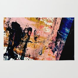 01016 : a bold abstract in pink, orange, blue, and black Rug