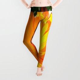 Bright Orange Marigold In Bright Sunlight Leggings