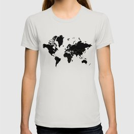 Minimalist World Map Black on White Background T-shirt