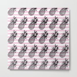 Pink Striped Pineapple Pattern Metal Print