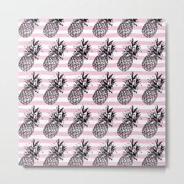 Pink Striped Pineapple Pattern Metal Print