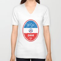 chile V-neck T-shirts featuring World Cup Football - Chile (Distressed) by Made of Thoughts