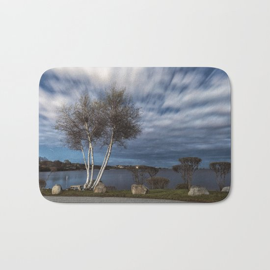 Birch tree by the pond Bath Mat