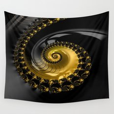 Fractal Shell Black Gold Wall Tapestry