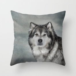 Drawing Dog Alaskan Malamute Throw Pillow