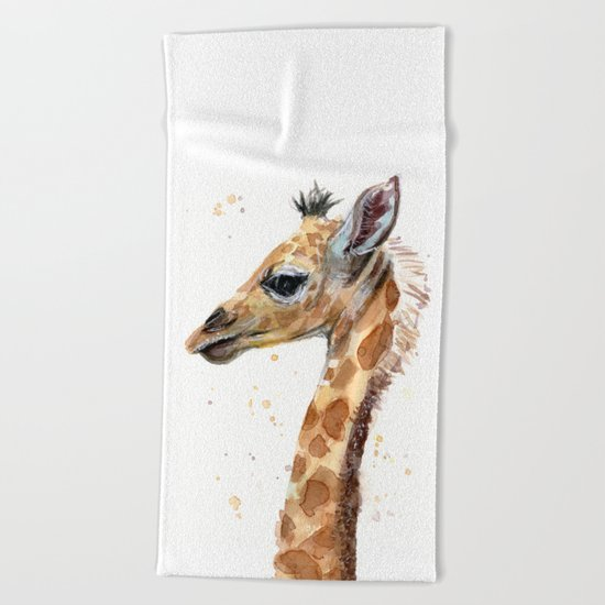 Giraffe Watercolor Cute Baby Animals Whimsical Art Beach Towel