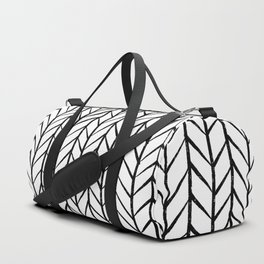 black and white modern hand drawn herringbone chevron pattern Duffle Bag
