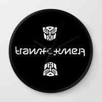 transformer Wall Clocks featuring TRANSFORMER ambigram by Reverse