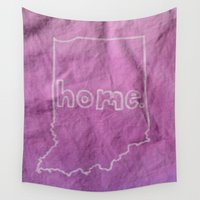 tote bag Wall Tapestries featuring Indiana is Home Purple Ombre (Bag Art) by Aries Art