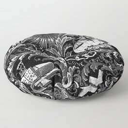 Black and White Woven IOOF Symbolism Tapestry Floor Pillow