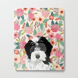 Bernedoodle floral pet portrait art print and dog gifts Metal Print