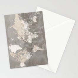 Brown detailed world map with artistic ocean floor, Davey Stationery Cards