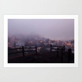 Foggy fences. Art Print