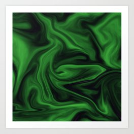 Black and green marble pattern Art Print