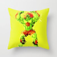street fighter Throw Pillows featuring Street Fighter II - Blanka by Carlo Spaziani