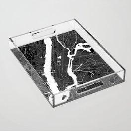 New York City Black And White Map Acrylic Tray