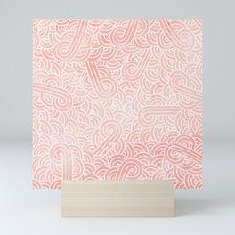 Rose quartz and white swirls doodles Mini Art Print