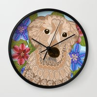 golden retriever Wall Clocks featuring Golden Retriever by ArtLovePassion