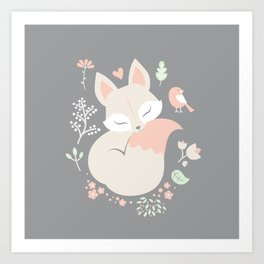Sleeping Fox - grey pattern design Art Print