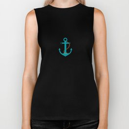 AFE Nautical Teal Ship Anchor Biker Tank
